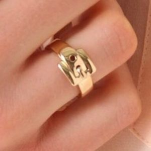 Michael Kors Gold Buckle Ring Size 6